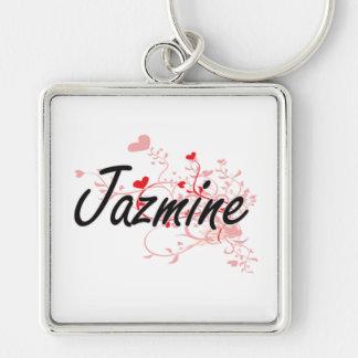 Diseño conocido artístico de Jazmine con los Llavero Cuadrado Plateado