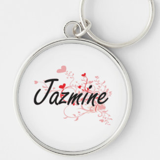 Diseño conocido artístico de Jazmine con los Llavero Redondo Plateado