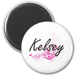 Diseño conocido artístico de Kelsey con las flores Imán Redondo 5 Cm