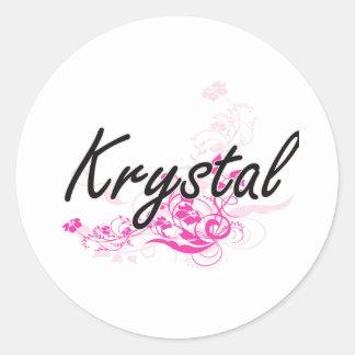 Diseño conocido artístico de Krystal con las Pegatina Redonda