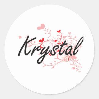 Diseño conocido artístico de Krystal con los Pegatina Redonda