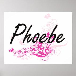 Diseño conocido artístico de Phoebe con las flores Póster