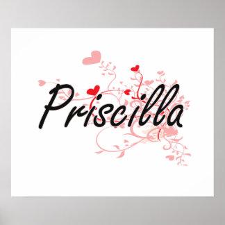 Diseño conocido artístico de Priscilla con los Póster
