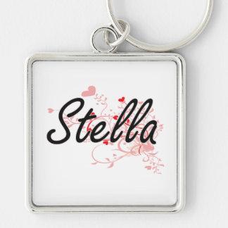 Diseño conocido artístico de Stella con los Llavero Cuadrado Plateado