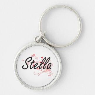 Diseño conocido artístico de Stella con los Llavero Redondo Plateado