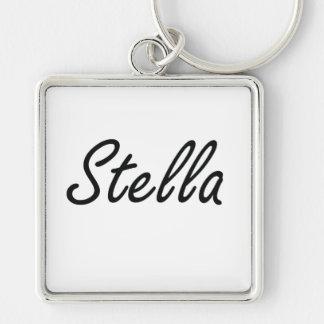 Diseño conocido artístico de Stella Llavero Cuadrado Plateado
