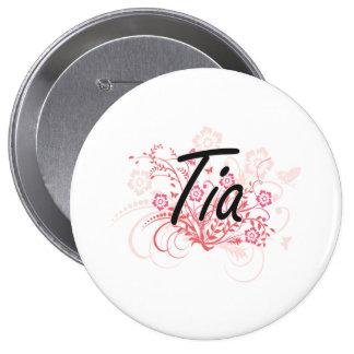 Diseño conocido artístico de Tia con las flores Pin Redondo De 4 Pulgadas