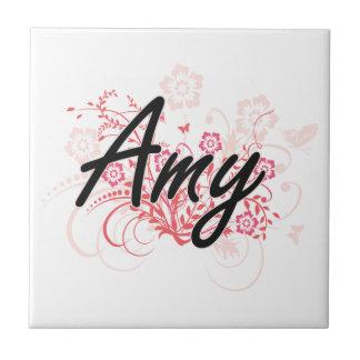 Diseño conocido artístico del Amy con las flores Azulejo Cuadrado Pequeño