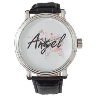 Diseño conocido artístico del ángel con los reloj de mano