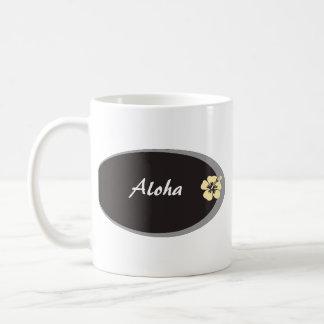 Diseño conocido del hibisco de la etiqueta taza