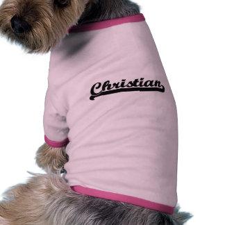 Diseño conocido retro clásico cristiano camiseta con mangas para perro