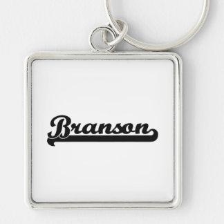 Diseño conocido retro clásico de Branson Llavero Cuadrado Plateado