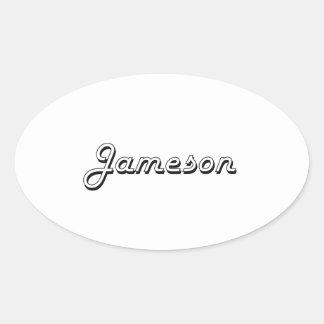 Diseño conocido retro clásico de Jameson Pegatina Ovalada