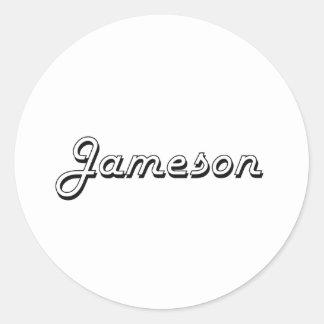 Diseño conocido retro clásico de Jameson Pegatina Redonda