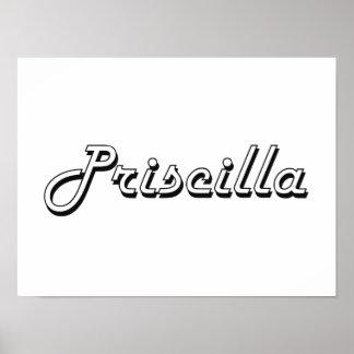 Diseño conocido retro clásico de Priscilla Póster