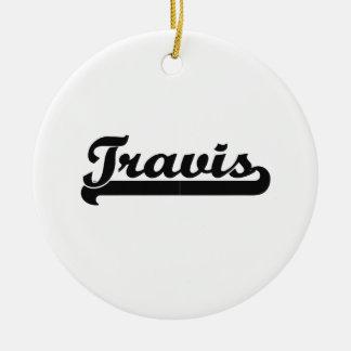 Diseño conocido retro clásico de Travis Adorno Navideño Redondo De Cerámica