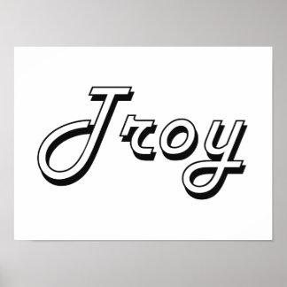 Diseño conocido retro clásico de Troy Póster