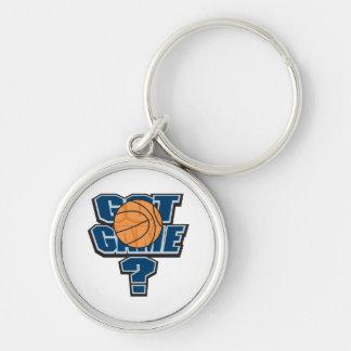 diseño conseguido del baloncesto del juego llavero redondo plateado
