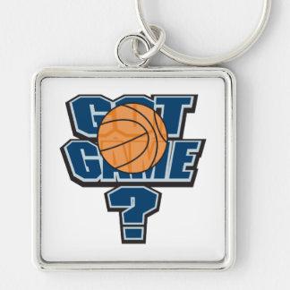 diseño conseguido del baloncesto del juego llavero cuadrado plateado
