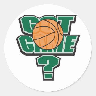 diseño conseguido del baloncesto del juego pegatina redonda