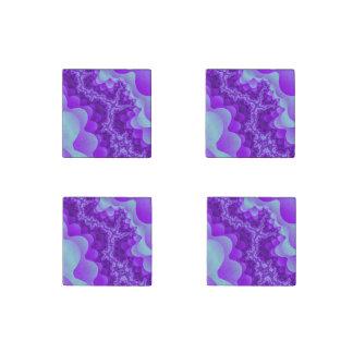 Diseño coralino del fractal de la burbuja púrpura imán de piedra