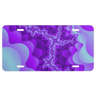 Diseño coralino del fractal de la burbuja púrpura placa de matrícula