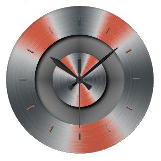 Diseño coralino oscuro del color de las reloj redondo grande