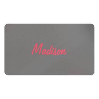 Diseño coralino rosado de moda gris claro tarjetas de visita