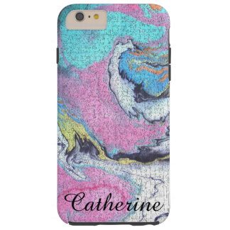 Diseño Crackled abstracto del rosa, azul y blanco Funda Para iPhone 6 Plus Tough