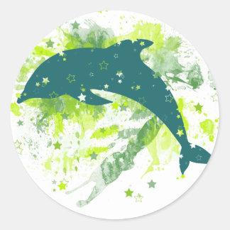 Diseño creativo del delfín pegatina redonda