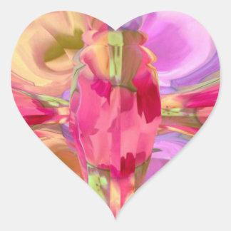 Diseño cristalino del pétalo de REDROSE Pegatina Corazon