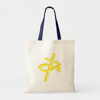 Diseño cristiano de los pescados y del regalo de l bolsa