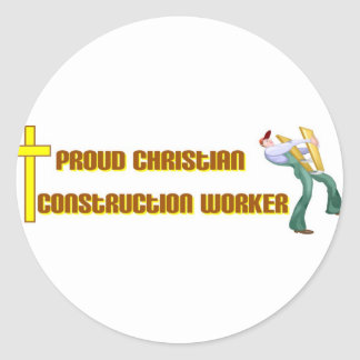 Diseño cristiano orgulloso del trabajador de pegatina redonda