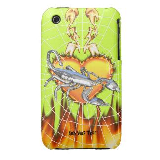 Diseño cromado 1 del escorpión con el fuego y Case-Mate iPhone 3 funda
