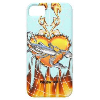Diseño cromado 1 del escorpión con el fuego y iPhone 5 fundas