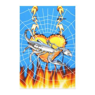 Diseño cromado 1 del escorpión con el fuego y noso lona envuelta para galerías