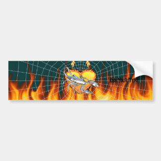 Diseño cromado 1 del escorpión con el fuego y noso pegatina para auto