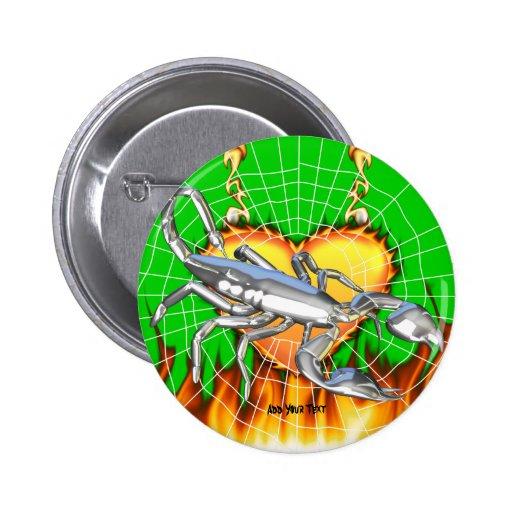 Diseño cromado 1 del escorpión con el fuego y noso pin