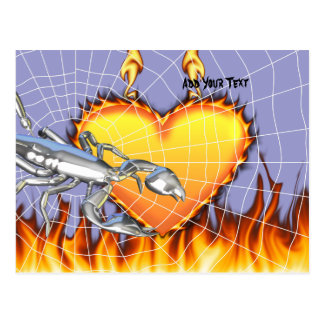 Diseño cromado 1 del escorpión con el fuego y noso postal