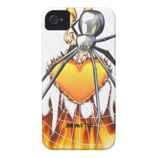 Diseño cromado 2 de la viuda negra iPhone 4 funda