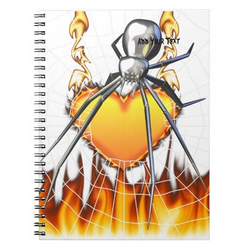Diseño cromado 2 de la viuda negra libros de apuntes