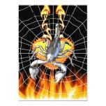 Diseño cromado 2 del escorpión con el fuego y la invitación 12,7 x 17,8 cm