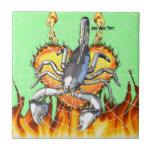 Diseño cromado 2 del escorpión con el fuego y la t teja  ceramica