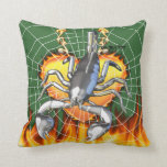 Diseño cromado 2 del escorpión con el fuego y la t almohada