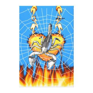 Diseño cromado 2 del escorpión con el fuego y la t lona envuelta para galerías