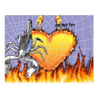 Diseño cromado 2 del escorpión con el fuego y la t tarjeta postal