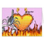 Diseño cromado 2 del escorpión con el fuego y la tarjeta de felicitación