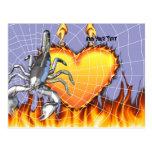 Diseño cromado 2 del escorpión con el fuego y la postal