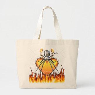 Diseño cromado 3 de la viuda negra bolsa lienzo