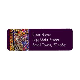 Diseño cruzado al sudoeste del mosaico colorido de etiqueta de remitente